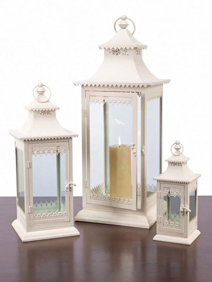 Set of 3 Cream Lantern Decorative Cottage-Style Pillar Candle Holders 10043418 | ChristmasCentral