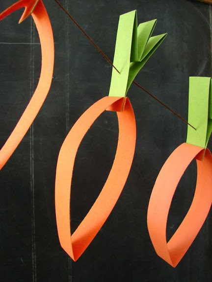 Paper Carrot Garland Peter's Birthday decorations  completed 11. 2. 13