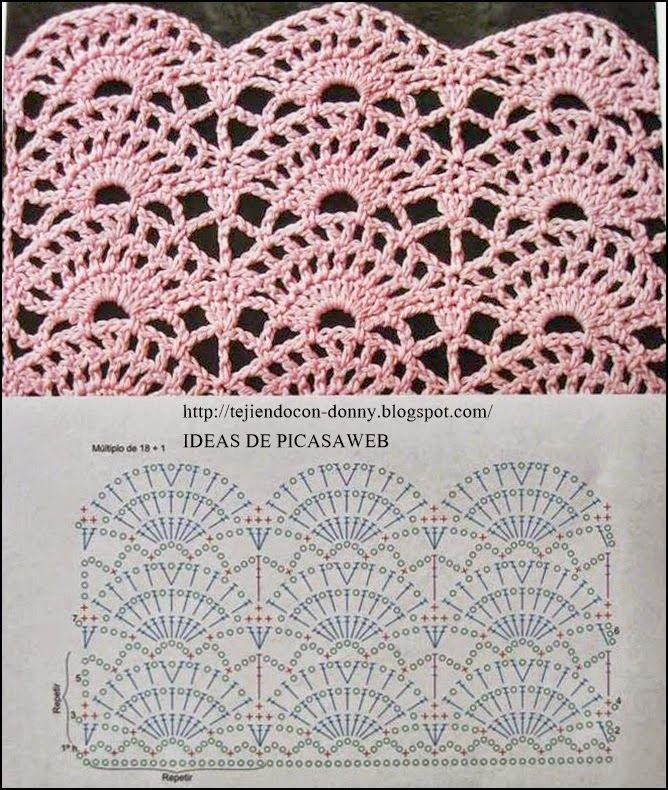 Asombroso Clam Shell Patrón De Crochet Adorno - Manta de Tejer ...