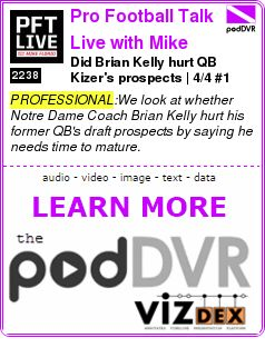 #PROFESSIONAL #PODCAST  Pro Football Talk Live with Mike Florio    Did Brian Kelly hurt QB Kizer's prospects? | 4/4 #1    READ:  https://podDVR.COM/?c=2c87d49e-7857-0091-b58f-12017b4747ca