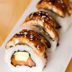 Salmon Avocado Eel Sushi Roll