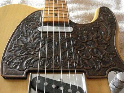 hand tooled leather pickguard for telecaster tooled guitar pickguard leather tooled. Black Bedroom Furniture Sets. Home Design Ideas