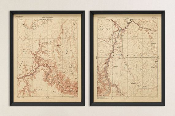 Finely detailed, archival reproductions of two historic USGS topographic maps of the Grand Canyon printed on acid-free, 100% cotton fine art