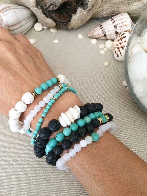 Lava Girl Stacked Beaded Bracelets by SimplyQuinns on Etsy