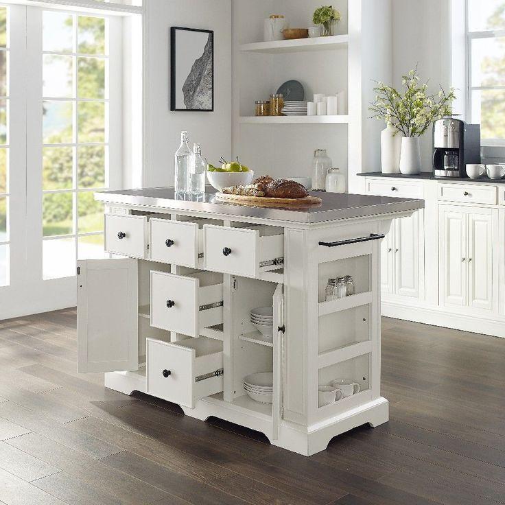 Julia Kitchen Island In White Crosley Kf30025awh In 2020 Kitchen Island Countertop Kitchen Island Countertops