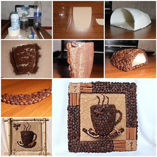 DIY 3D Coffee Cup Picture Decor with Coffee Beans | iCreativeIdeas.com Like Us on Facebook ==> https://www.facebook.com/icreativeideas