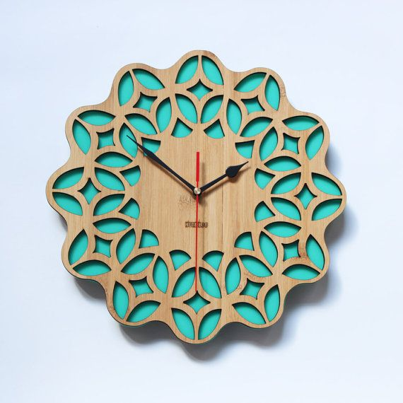 Bamboo Retro Green Wall Clock   60s Floral by HOMELOO on Etsy, 10%off coupon code: pin10