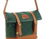 Green waxed canvas foldover bag. Crossbody bag