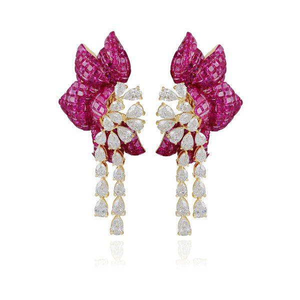Farah Khan Fine Jewelry Ruby Floral Earring