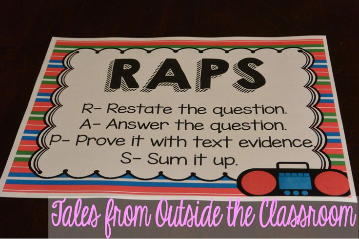 RAPS- A strategy for helping kids learn to restate the question in the answer.  Includes this free poster, along with other acronyms.