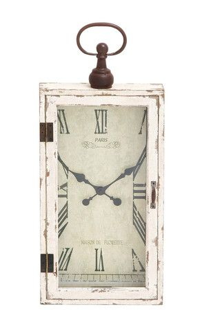 White Shabby Distressed French Country Cottage Wood Metal Wall Clock Home Decor