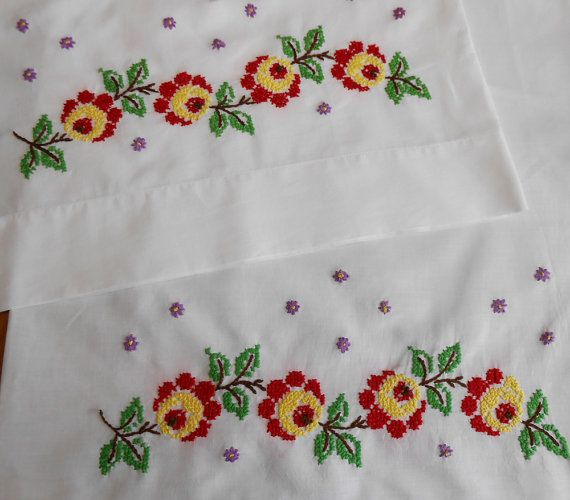 pillowcase pair vintage white cotton retro bed linens bright
