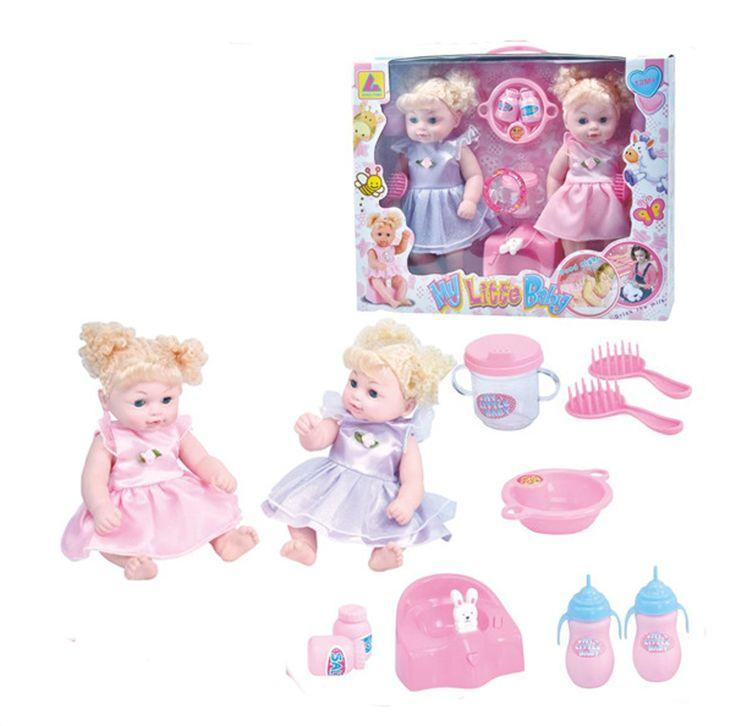 Вьющиеся Волосы Близнецов Ребенка Playset 12 дюймов Виниловые Куклы Девушки Напиток-Пи Незначительное Обучение Игрушки Подарки