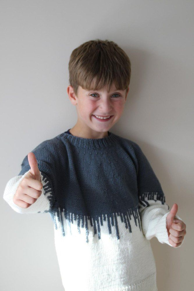 Paint Drips Sweater is a loosely fitted sweater designed to fit for a long time. The top looks like your child has spilt a can of paint over him or herself. It's top down and it is seamless. Perfect for those new to stranded knitting or knitting with chart. The drips can also be embroider on as duplicate st after the garment is finished. Both options are included in the pattern.