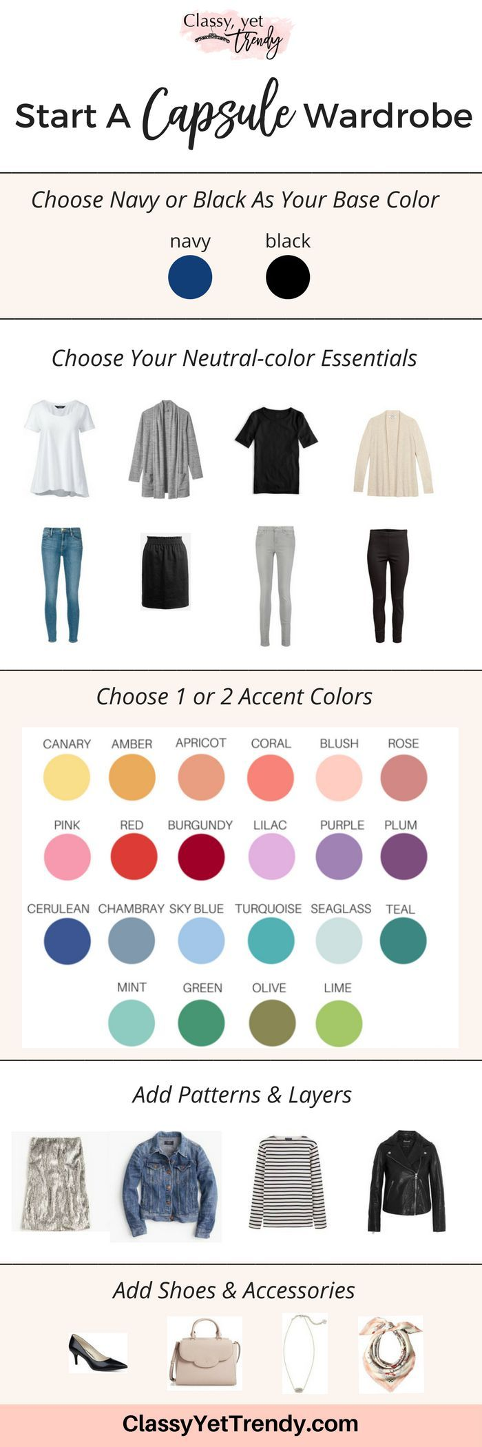 Learn how to create a capsule wardrobe using the 5-step visual guide! Step-by-step, you'll start your own capsule! Organize your closet with clothes, shoes and accessories and have several outfits for spring, summer, fall and winter.  You'll have outfit ideas, save money, have a neat closet and feel better about the way you look!