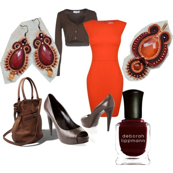 orange office by galeriamagia on Polyvore featuring moda, French Connection, KAOS, Pierre Hardy, Abercrombie & Fitch and Deborah Lippmann
