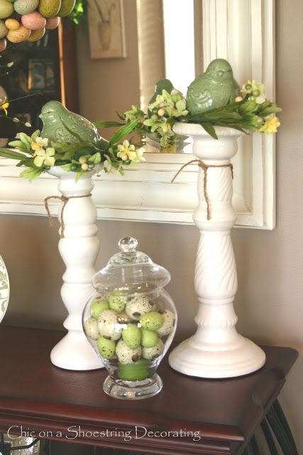 Easter Eye Candy, No Calories: small bird nests atop candlestick columns | from Chic on a Shoestring Decorating