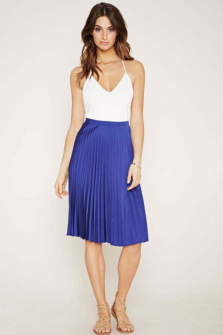 Forever 21 Contemporary - This satin woven skirt features sharp accordion pleats and a concealed side zipper.