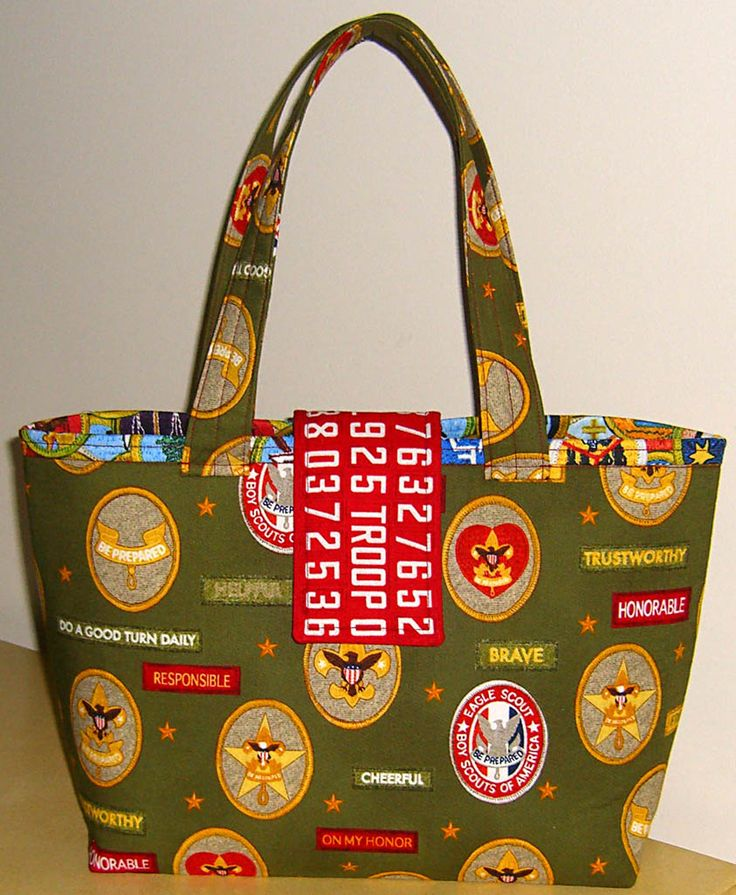Bag made with Boy Scout fabric