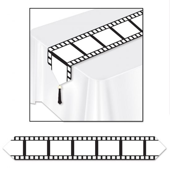 Filmstrip tafelloper. Ideaal als tafeldecoratie voor een Hollywood thema feest. Formaat: ongeveer 28 cm breed en 183 cm lang.