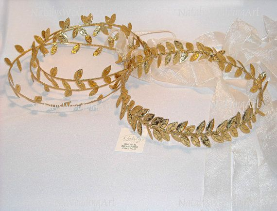 SET Greek Bride Halo Headpiece and 3 Flower girl Halo Bands Wedding Gold Style Olive Leafs Grecian Headpiece Greek Headband Wedding Crown