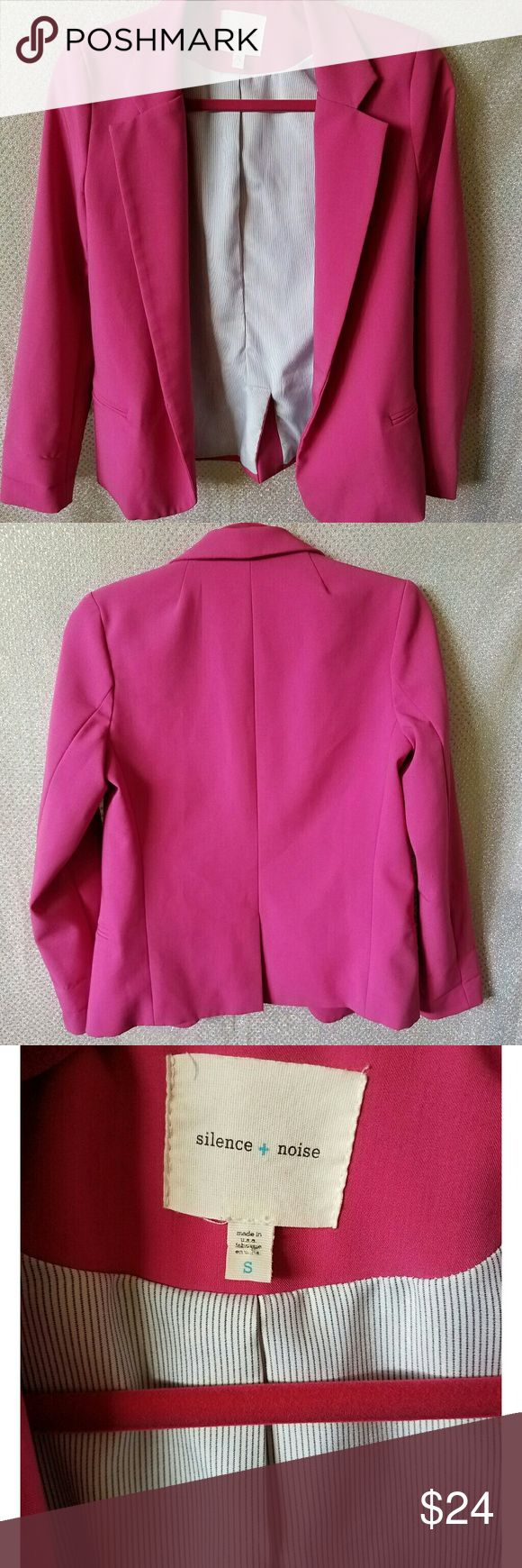 """Urban Outfitters silence & noise hot pink blazer Urban Outfitters silence & noise hot pink blazer, size small, polyester, 2 front illusion pockets.  Measurements: Shoulder to shoulder 16"""" Armpit to armpit 17"""" Sleeve 23"""" Length 23"""" Urban Outfitters Jackets & Coats Blazers"""