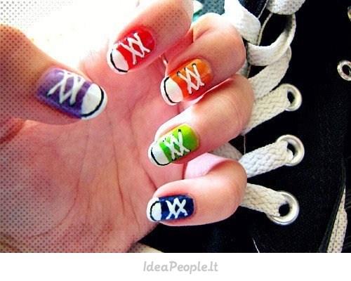 Converse sneaker nails.This would be sooo fun!