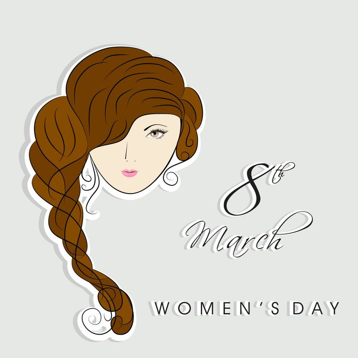 Happy Women's Day celebrations with beautiful girl, stylish text