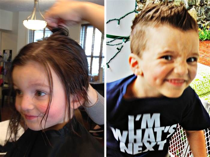 Jacob Lemay before and after having his hair cut