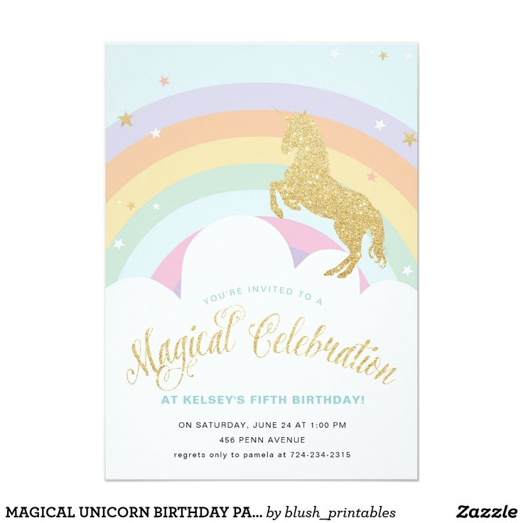11 best bautizo images on pinterest christening watercolour magical unicorn birthday party invitation stopboris Images