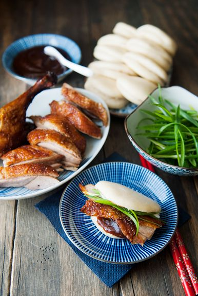 Chinese Steamed Lotus Leaf Buns with Peking Duck