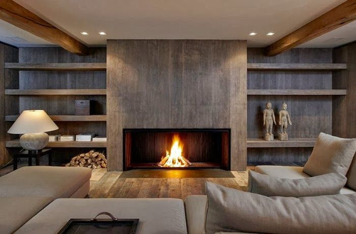 Fireplaces - chimenea muro-mueble en hormigón? Este mismo concepto lo prefiero con piedra natural. ACOGEDOR con mayúsculas.
