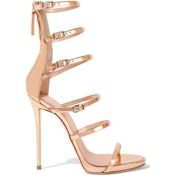 Giuseppe ZanottiMirrored-leather Sandals featuring polyvore, women's fashion, shoes, sandals, heels, giuseppe zanotti, sapatos, rose gold, strappy stilettos, high heel stilettos, leather strap sandals, strap sandals and strappy sandals