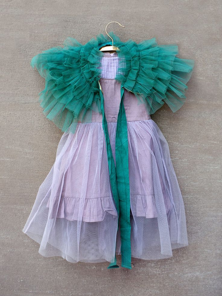 Lilac dress with green shrug