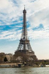 The Eiffel tower from the river Seine in Paris.