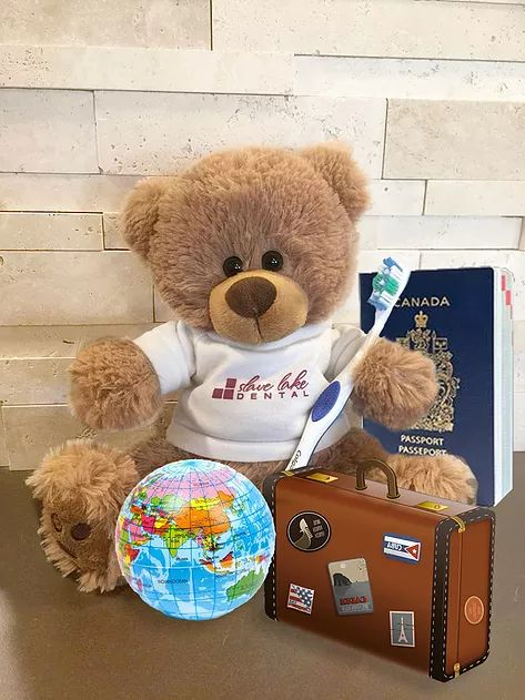 Who is Dennis the Bear? | Family Dentist | Northern Alberta | Slave Lake Dental - Dennis is the Slave Lake Dental bear and he has packed his bags and is ready to travel the world! Little Dennis joined our team in the summer of 2016 and is already making his way around the world! Click the pins on the map to see photos of his travels so far!