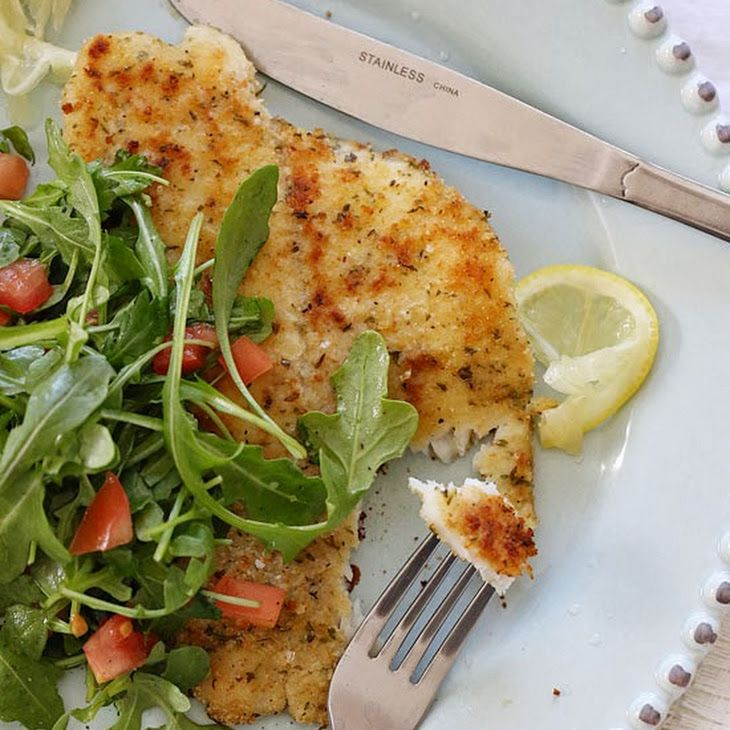 Flounder Milanese with Arugula and Tomatoes Recipe with 60 calories. Includes filet, kosher salt, ground black pepper, arugula, tomatoes, olive oil, lemon, large egg whites, bread crumbs, olive oil spray.