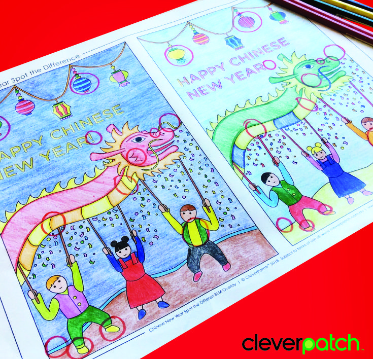 FREE download! Spot the Difference Colouring Sheet for Chinese New Year (Lunar New Year)!