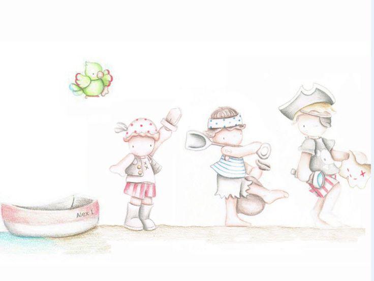 Decoración infantil Il Mondo di Alex, Papel mural efecto pintado a mano, PIRATAS V2.NIÑOS... personalizado con nombre o frase y a medida.