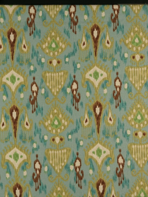 $18/yd - busy ikat pattern, would be good for pillow or small seat cover.  Khanjali/ Peacock