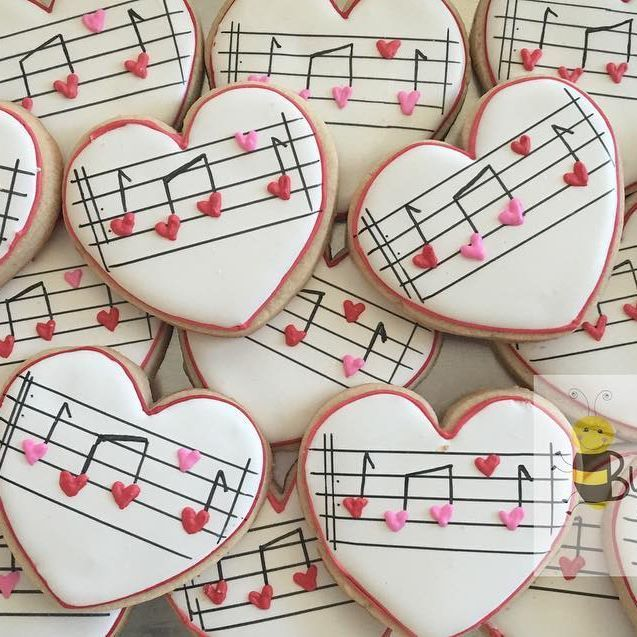 Thanks to @melissajoycookies for the inspiration for these cookies. #hearts #valentinesday #heartsong #music #cookies #decoratedcookies #customcookies #cookieart #cookiesofinstagram