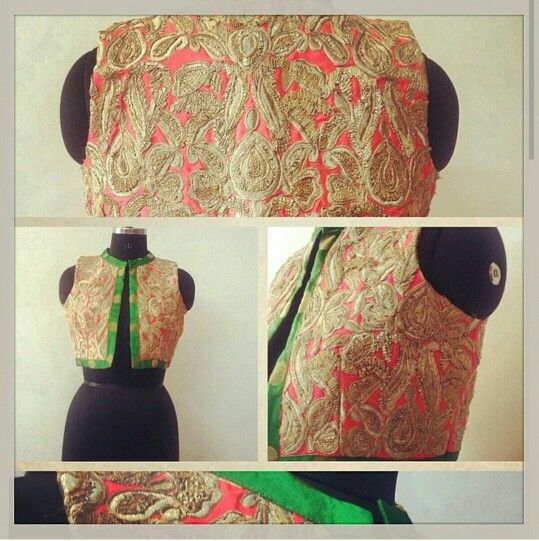 Coral and green koti with gota patti