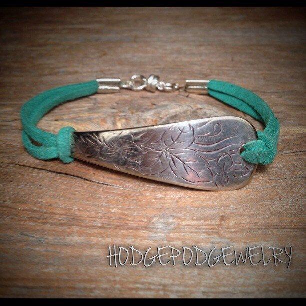 Spoon Bracelet Silverware Bracelet Leather Bracelet Handmade Bracelet Silver Plated Spoon Jewelry Silverware Jewelry by Hodgepodgewelry on Etsy