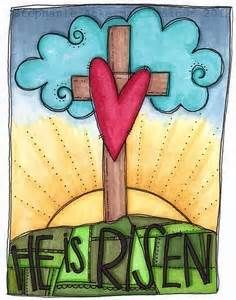 He is Risen! This would look GREAT on our message boards! #thepaintedpeacock #religiouspottery