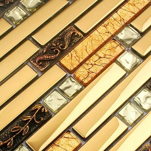 3D luxo de ouro de metal misturado mosaico de vidro telha da cozinha backsplash chuveiro do banheiro da telha telha corredor fronteira