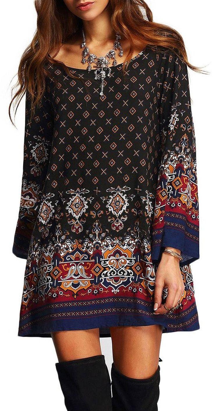 Risesun Women's Bohemian Vintage Printed Ethnic Style Loose Casual Tunic Dress at Amazon Women's Clothing store: