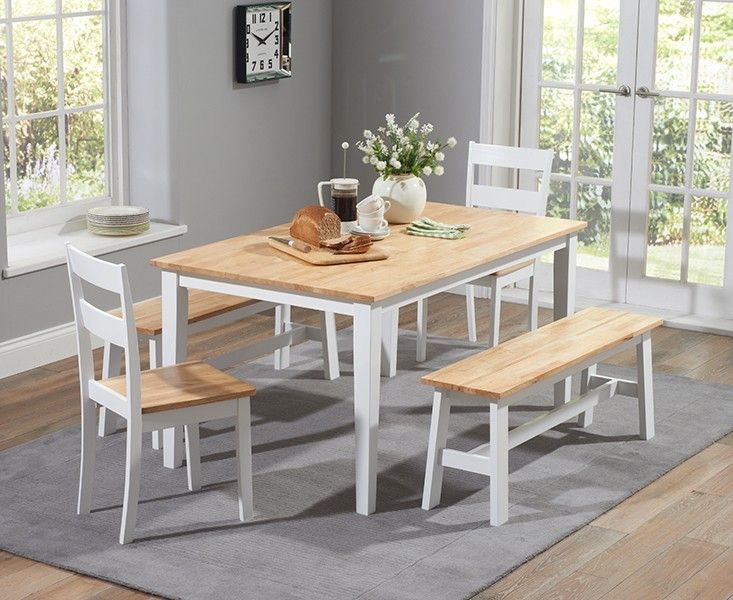 Buy the Chiltern 150cm Oak and White Dining Table Set with Benches and Chairs at Oak Furniture Superstore