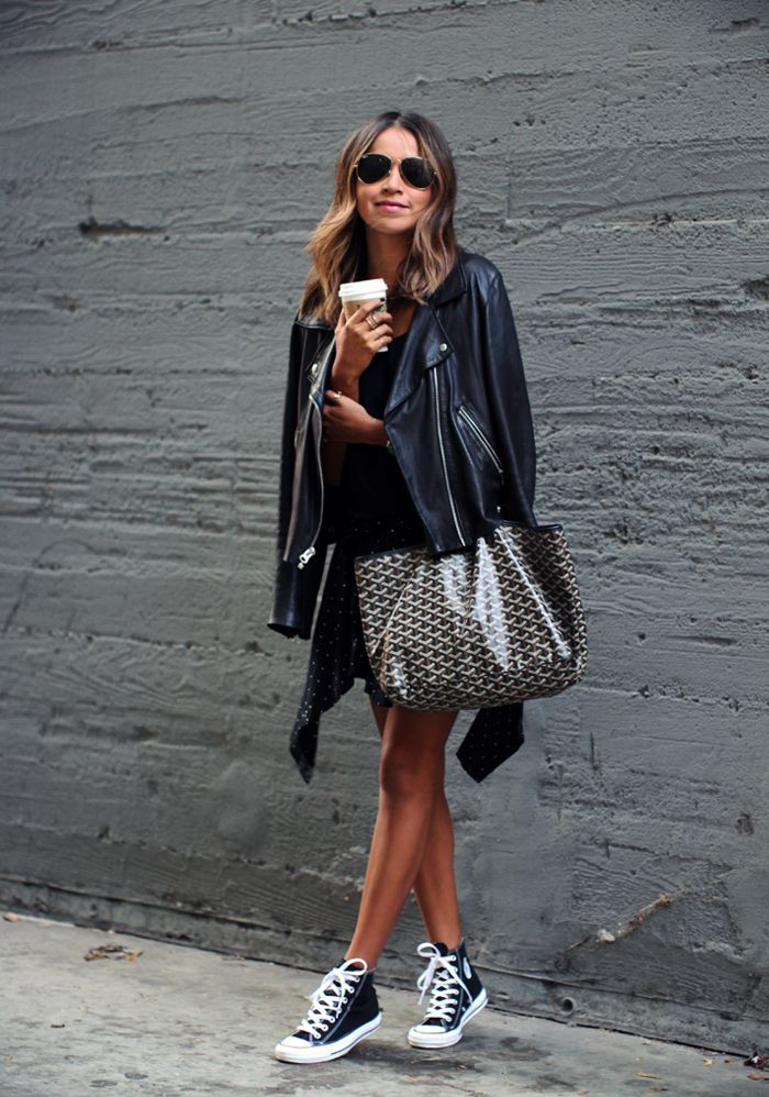 Casual yet chic look - with leather jacket, Goyard bag and Converse