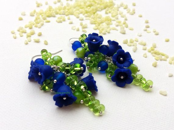 Blue Flower Wedding Earrings, Dangle Flower Earrings, Blue Flowers, Bell Flowers, Blue Jewelry, Flower Jewelry, Handmade Earrings, Romantic