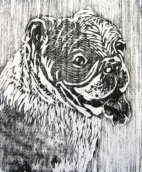 Bulldog Woodblock Relief Print, Original Printmaking Dog. $25.00, via Etsy.